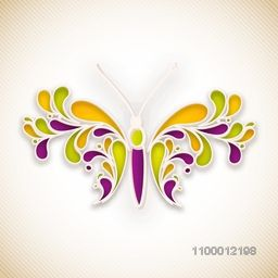 Creative illustration of butterfly, made by beautiful floral design.