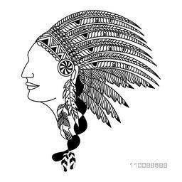 Creative hand drawn illustration of human face in feathers War Bonnet.