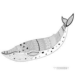 Hand drawn black and white illustration of Fish with ethnic floral ornaments in doodle style for anti stress coloring page, tattoo and decoration.