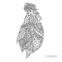 Creative hand drawn Rooster with ethnic floral doodle elements. Adult anti stress zentangle style coloring page design.