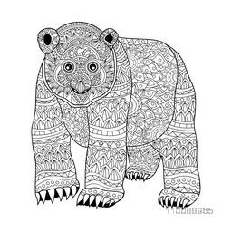 Hand drawn Panda with ethnic floral doodle pattern. Creative anti stress coloring page design for adults.
