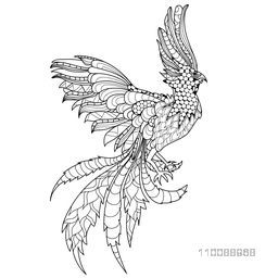 Hand drawn doodle illustration of Flying Phoenix Bird with beautiful ethnic floral design.