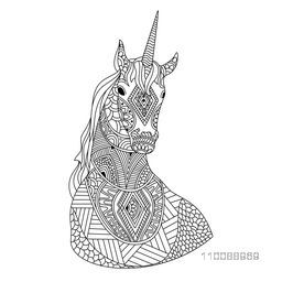 Creative hand drawn doodle style illustration of Unicorn with beautiful ethnic pattern.