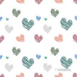Seamless love background with creative hearts.