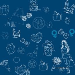 Happy Women's Day celebration pattern with different ornaments on blue background.