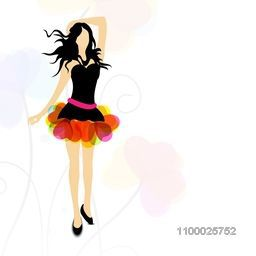 Modern young girl on seamless floral decorated background.