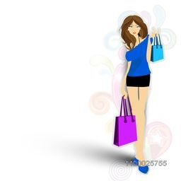 Young fashionable girl with shopping bags on colorful floral decorated background.