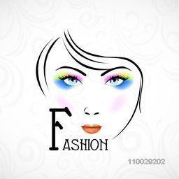 Illustration of a fashionable girl with bright makeup on floral decorated background.