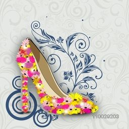 Happy Women's Day greeting card or background with a red ladies shoe on floral decorative background.