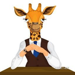 Giraffe dressed up in suit and tie, Creative Anthropomorphic design, Vector illustration. Half Human and Half Animal.