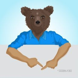 Brown Bear dressed up in blue shirt, Fashion Animal illustration, Creative Anthropomorphic design, Half Human and Half Animal concept.