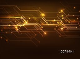 Creative hi-tech abstract design decorated glossy brown background.