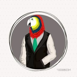Parrot Bird dressed up in formal wear, Creative Anthropomorphic design, Fashion bird illustration, Half Human and Half Animal concept.