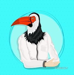Creative Anthropomorphic design, Toucan Bird with arms crossed and dressed up in white shirt, Fashion bird illustration, Half Human and Half Animal concept.