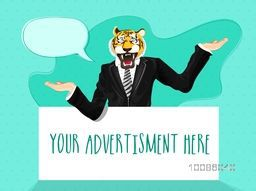 Aggressive Tiger dressed up in a suit with hands extended, Creative Half Human and Half Animal illustration, Vector design for Advertising and Promotion.