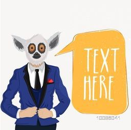 Lemur dressed up in suit, Vector Half Human and Half Animal illustration with message board, Creative Anthropomorphic Animal design.