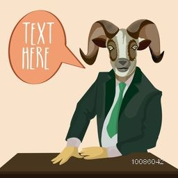 Goat dressed up in a suit - showing like a boss with message box, Vector Half Human and Half Animal illustration, Creative Anthropomorphic design.