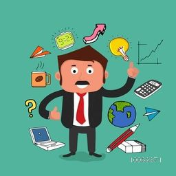 Creative illustration of a confused business man and various business infographic elements on green background.