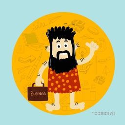 Illustration of a caveman holding a business bag with various business infographic elements.