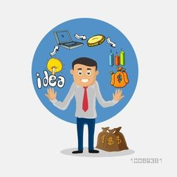 Creative colorful business infographic elements with illustration of a young business man and money bags.