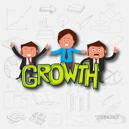 Young business men with green text Growth on various business infographic elements background for your print, presentation or publication.