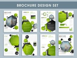 Professional brochure design set, Creative template collection with abstract background, Business flyers with infographic elements and space for images.
