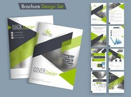 Creative brochure design set, Professional template layout with space for image and text, Business flyers with cover, inner and back pages presentation.