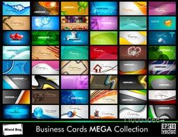 Elegant Abstract Vector Business Cards set in various concepts. Vector Illustration in Eps 10 format.