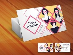 Creative business card design with illustration of young girls on shiny wooden background for photography business.