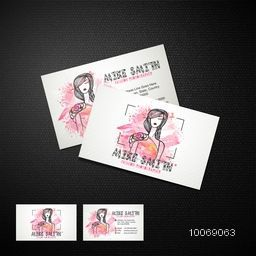 Creative business card design with illustration of young girls on stylish background for photography business.