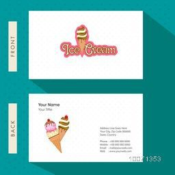 Creative business card or visiting card design for Ice Cream parlour.