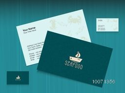 Creative stylish business card design for seafood restaurant.