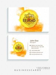 Front and back side presentation of creative horizontal business card, name card or visiting card set decorated with orange color splash.