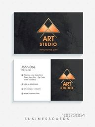 Creative horizontal business card, name card or visiting card set with front and back side presentation.
