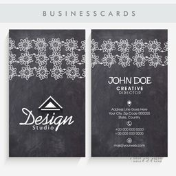 Vertical artistic business card or visiting card set with front and back side presentation.