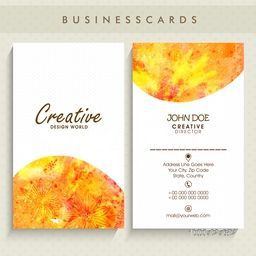 Beautiful artistic vertical business card or visiting card set with front and back side presentation.