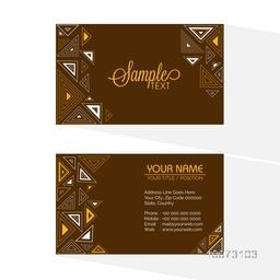 Artistic horizontal business card or visiting card set with front and back side presentation.