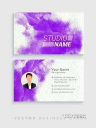 Creative horizontal business card or visiting card set with violet color splash and space for your picture.