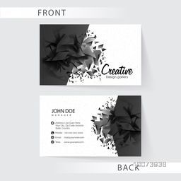 Front and back side presentation of abstract horizontal business card or visiting card set with company information.