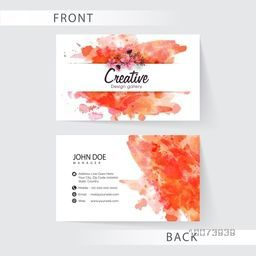 Creative horizontal business card or visiting card set decorated with color splash for your company.