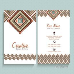 Front and back side presentation of artistic vertical business card or visiting card set with space for your company information.
