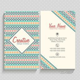 Colorful artistic vertical business card or visiting card set with front and back side presentation.