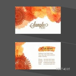 Beautiful artistic floral design decorated horizontal business card or visiting card set with your company information.