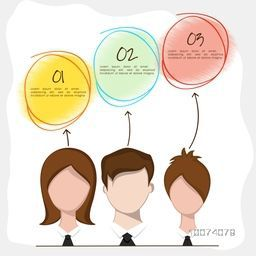 Set of business people with colorful circles on shiny background.