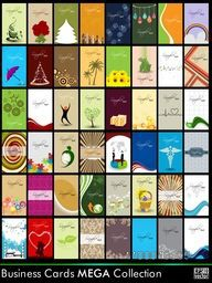 Abstract Bussiness Cards Set in Different Style and Pattern. Eps 10, Vector Illustration