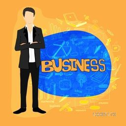 Illustration of a young businessman with various business elements.