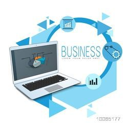 Creative business infographic elements with laptop, pie chart, graph and setting tool.