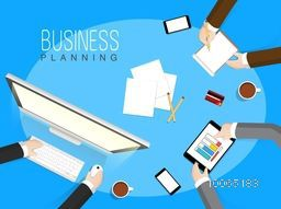 Creative illustration of business people planning and discussing, How to growth in their business on sky blue background.
