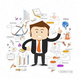 Young business man with different colorful creative icons on white background.