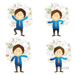 Creative illustration of businessman in different avatar with various business infographic elements.